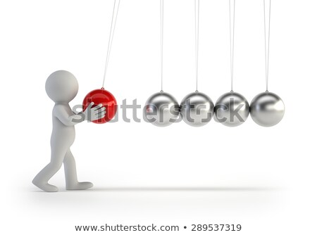 Foto stock: 3d Small People - Newtons Cradle