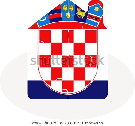 house home icon with croatia flag in puzzle stock photo © istanbul2009