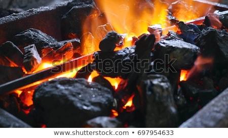 Brandend zwaard 3d render vlammen zwarte brand Stockfoto © oorka