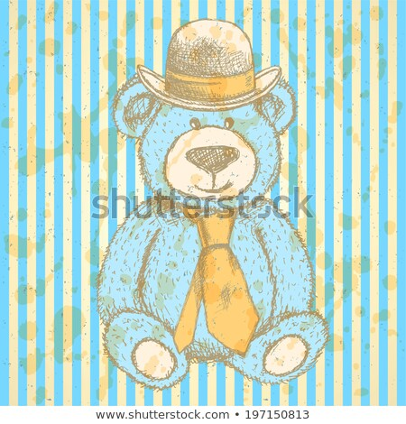 sketch teddy bear in hat and cravat vector background stock photo © kali