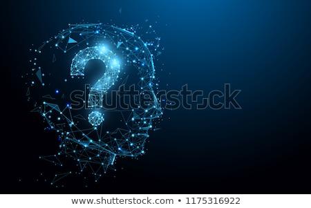Ponto de interrogação cabeça 3D gerado quadro branco Foto stock © flipfine