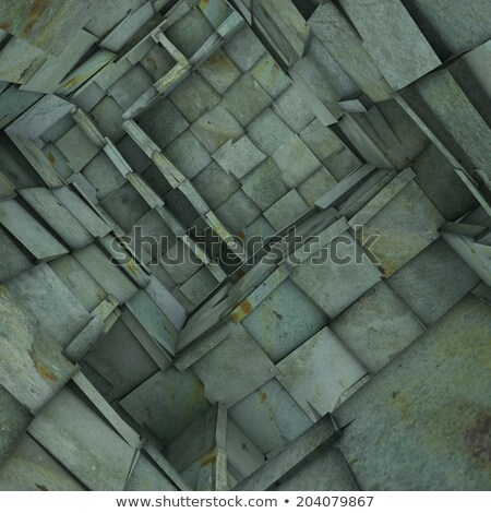 3d fragmented tiled mosaic labyrinth interior in blue green Stock photo © Melvin07
