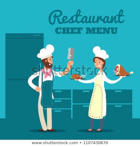 cuisine · chef · silhouettes · restaurant · Ouvrir · la · silhouette - photo stock © Slobelix