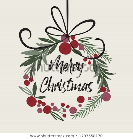 Christmas wreath retro card template stock photo © orensila
