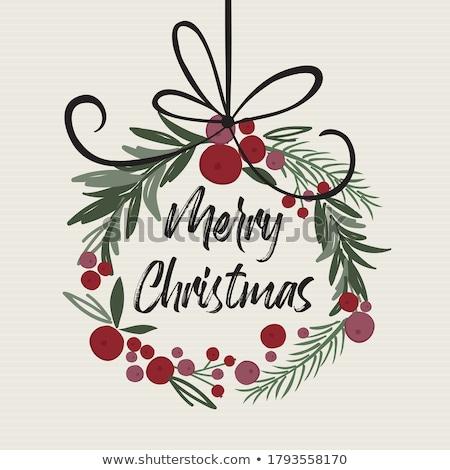 Рождества венок ретро карт шаблон иллюстрация Сток-фото © orensila