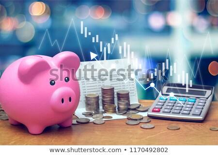 Banku piggy statystyczny 3D wygenerowany zdjęcie działalności Zdjęcia stock © flipfine