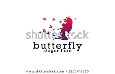 Cara senhora borboleta logotipo estância termal beleza Foto stock © shawlinmohd
