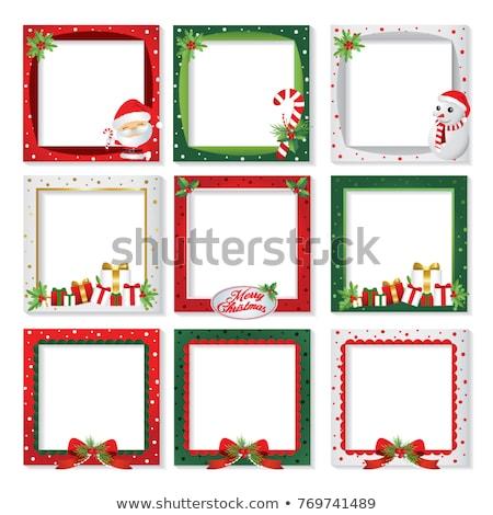 Stock fotó: Karácsony · üdvözlőlap · képkeret · kártyák · egy · jelenet
