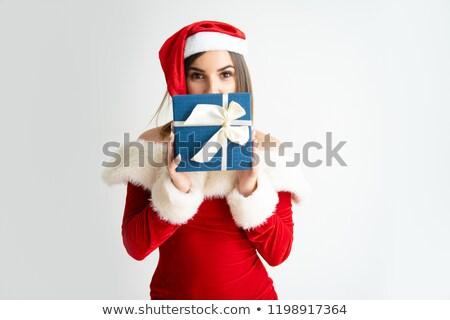 güzel · mutlu · kadın · Noel · genç · kadın - stok fotoğraf © hasloo