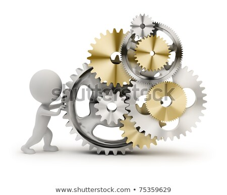 Stock photo: 3d small people   rolls gears
