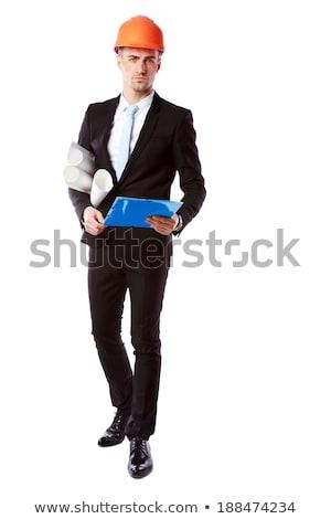Portre yakışıklı işadamı kask mavi Klasör Stok fotoğraf © deandrobot