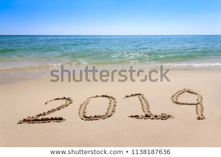 Foto stock: Praia · palavra · escrito · praia · verão · assinar