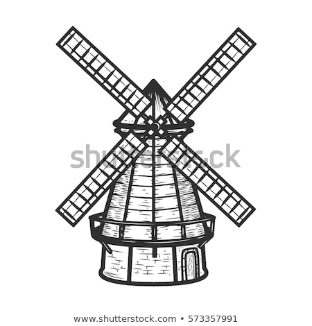 single windmill in dutch landscape Stock photo © compuinfoto