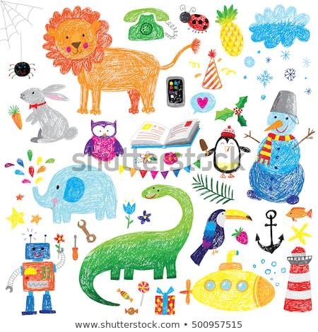 дети животные Cute рисунок стиль Сток-фото © zsooofija