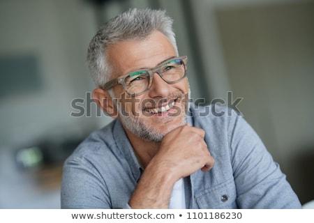 Mosolyog boldog középkorú férfi kecskeszakáll szakáll Stock fotó © ozgur