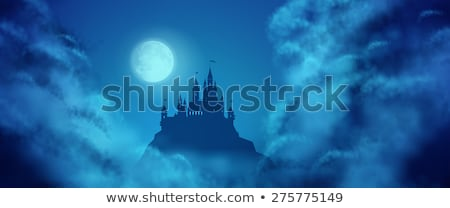 Stockfoto: Fantasy Vector Castle Moonlight Sky