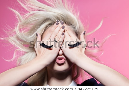 Eye with pink eyelashes. Stock photo © lubavnel