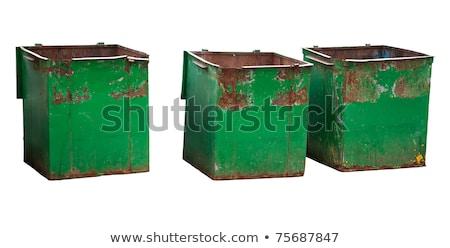 two iron trash bin isolated on white Stock photo © ozaiachin