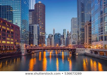 Chicago · akşam · karanlığı · şehir · merkezinde · gökdelenler - stok fotoğraf © achimhb