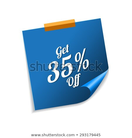 get 35 percent blue sticky notes vector icon design stock photo © rizwanali3d