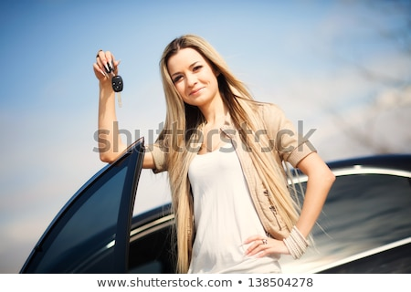 かなり 少女 車のキー 車 背景 ストックフォト © Nobilior