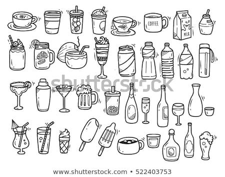 bouteille · verre · icône · craie · dessinés · à · la · main - photo stock © RAStudio