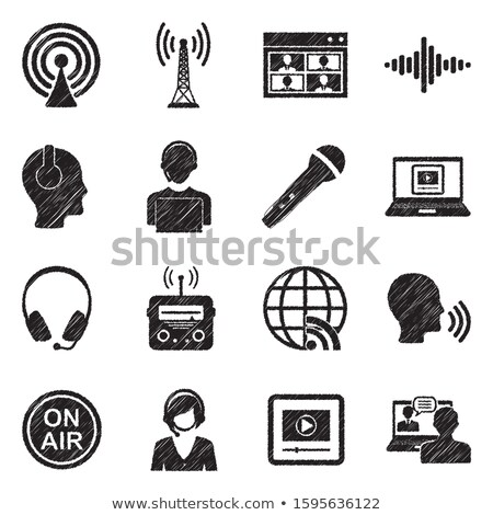 Headphone with microphone icon drawn in chalk. Stock photo © RAStudio