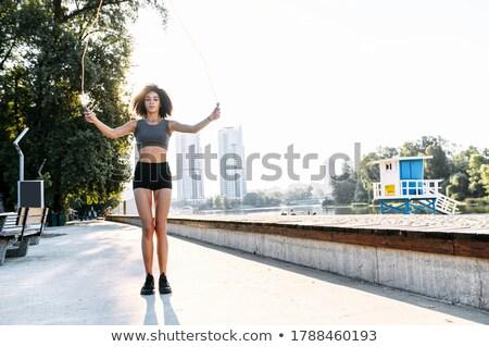 Mensen springen gelukkig vijf mensen landschap vrouw Stockfoto © fuzzbones0
