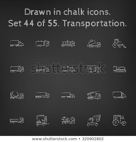 camion · icona · gesso · lavagna - foto d'archivio © RAStudio
