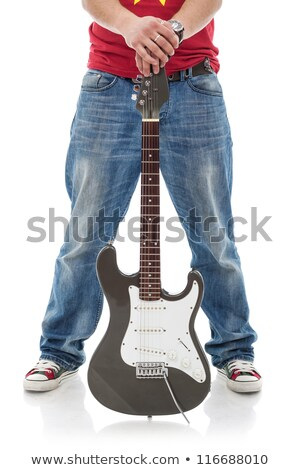 casual guitarist holding guitar over his face stock photo © feedough