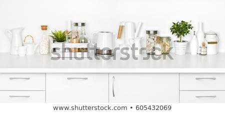 Stock photo: red wood kitchen white kitchen bench