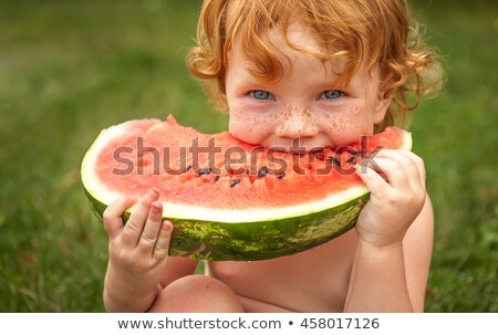 Foto d'archivio: Ritratto · bambina · mangiare · anguria · giovani