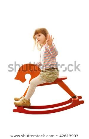 meisje · paard · paardrijden · zomer · meisje · glimlach - stockfoto © paha_l