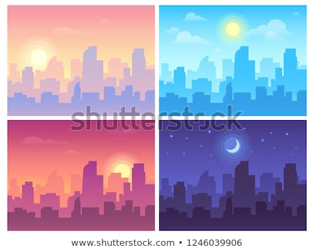 night buildings on sky and moon, collage stock photo © Paha_L