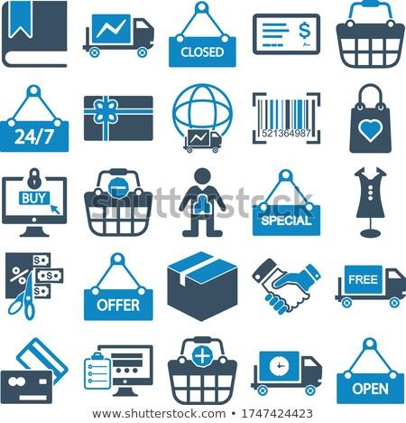 Commerce ingesteld winkelen kleurrijk mand Stockfoto © Genestro