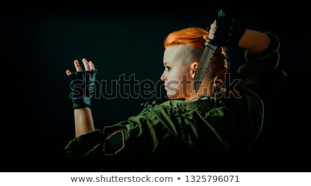 Stock photo: Warrior Woman With Combat Knife