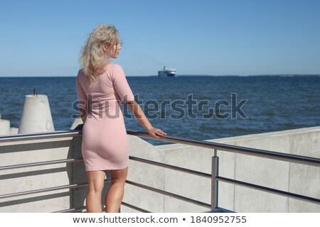 Portret blond dame vrouw model haren Stockfoto © majdansky