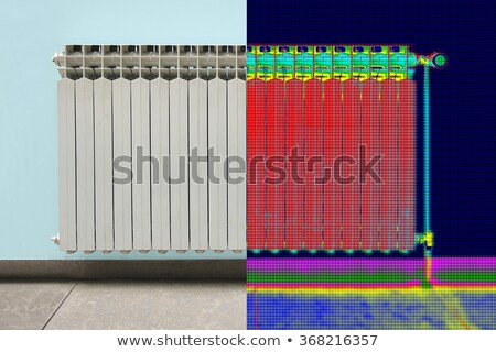 Infrared Thermal and real Image of Radiator Heater in house Stock photo © smuki
