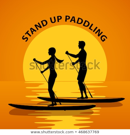 woman and man with stand up paddle board sup on river stock photo © kzenon