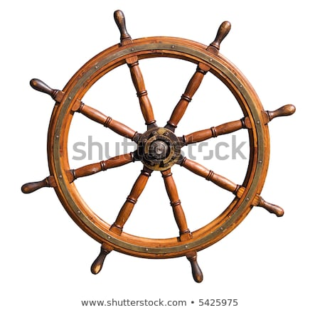 Old seasoned boat steering wheel cutout Stock photo © DragonEye