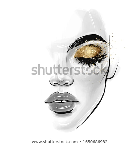 Beautiful young woman with closed eyes and modern makeup Stock photo © deandrobot