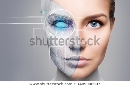 cyborg · ordinateur · visage · robot · machine · humaine - photo stock © Shevs