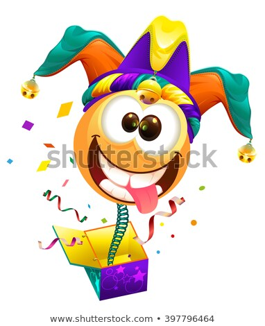 April Fools day. Fools cap smile on spring flies out of box. April Fools joke Stock photo © orensila