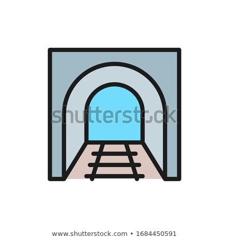Ferrovia túnel linha ícone teia móvel Foto stock © RAStudio