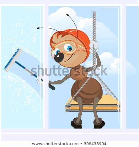 Ablak hangya ipari munka rajz illusztráció Stock fotó © orensila