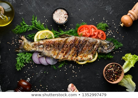 pstrąg · ryb · tabeli · skupić · papieru - zdjęcia stock © digifoodstock