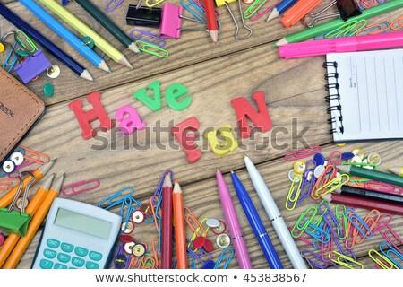 Diversión palabra oficina herramientas mesa de madera escuela Foto stock © fuzzbones0