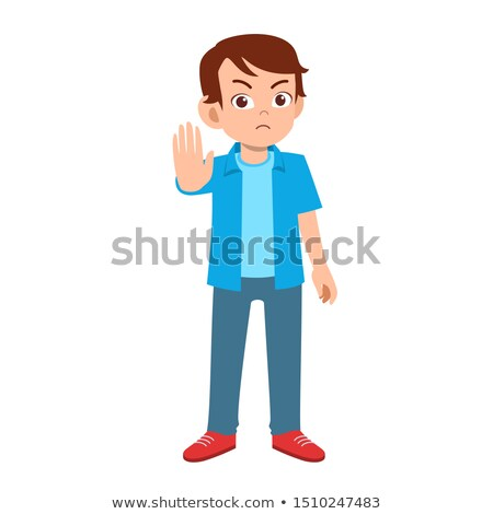 Stok fotoğraf: Young Man Gesturing Stop With His Hand