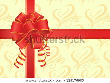 Stock photo: Holiday's Present With Red Bow & Flower
