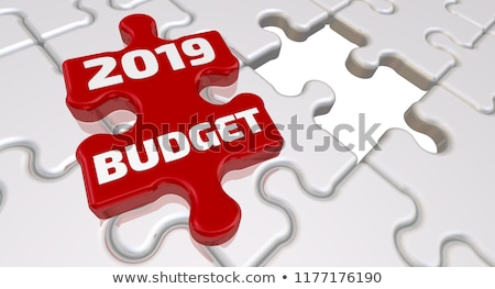 Puzzel woord budget puzzelstukjes bouw speelgoed Stockfoto © fuzzbones0